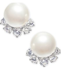eliot danori silver-tone crystal & imitation pearl stud earrings, created for macy's