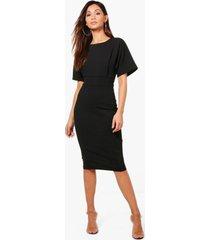 petite nette midi jurk met ceintuur, zwart