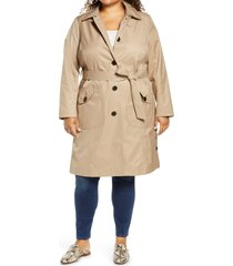 plus size women's sam edelman water repellent trench coat, size 1x - beige