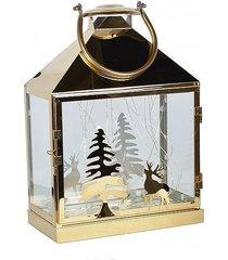 lampion metalowy świecznik świąteczny led gold