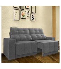 sofá 5 lugares net jaguar assento retrátil e reclinável grafite 2,50m (l)
