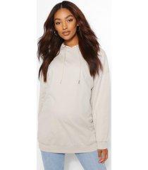 zwangerschap oversized borstvoeding hoodie met zijsplit, grey