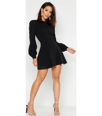 bust detail blouson sleeve skater dress, black