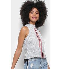 blusa acostamento fashion sb listrada gola alta feminina