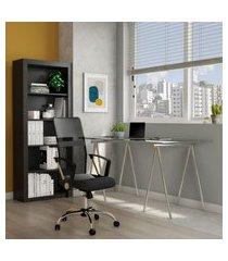 cadeira de escritório diretor giratória teslin com braços preta