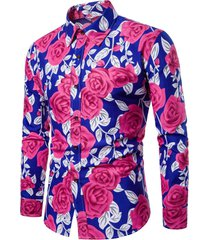 allover flower printed long sleeve shirt