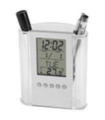 caneta relógio, caneta multifuncional porta lápis display mesa digital despertador calendário temporizador de temperatura organizador de mesa para hom