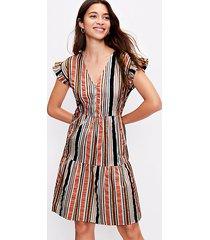 loft striped henley ruffle sleeve dress