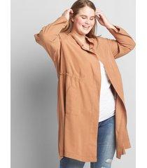 lane bryant women's twill utility duster jacket 14/16p caramel latte