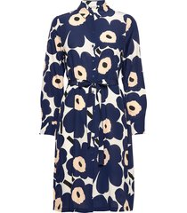 bettina pieni unikko dress jurk knielengte blauw marimekko