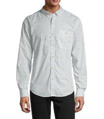 7 for all mankind men's polka dot shirt - floral white - size l