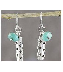 amazonite dangle earrings, 'cool modernity' (thailand)