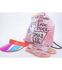 chinelo +mochila+ viseira infantil feminina kidy summer - feminino