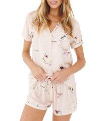 women's plum pretty sugar floral print short pajamas, size medium - pink