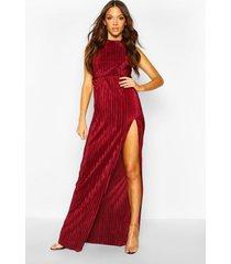 tall plissé thigh split maxi dress, berry