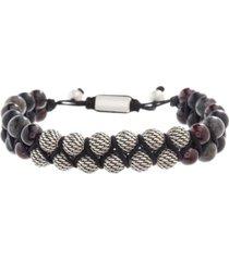 steve madden men's textured ball, labradorite and garnet beaded bracelet