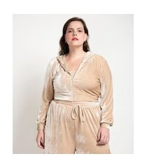 casaco de pijama em plush com capuz curve & plus size | ashua curve e plus size | bege | g1