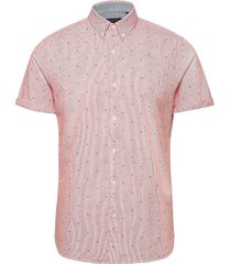classic shoreditch print s/s shirt kortärmad skjorta rosa superdry