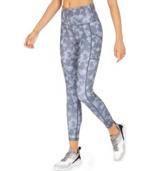 ideology camo-print high-rise side-pocket 7/8 length leggings, created for macy's