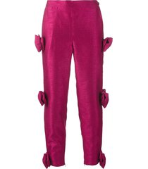ashish bow embellished cropped trousers - pink