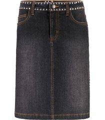 gonna di jeans elasticizzata con borchie (nero) - john baner jeanswear