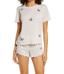 emerson road women's relaxed fit short pajamas, size x-small in little stripe white/multi at nordstrom