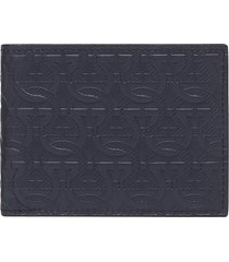 men's salvatore ferragamo embossed leather travel wallet - blue