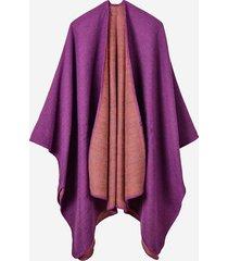 cappotti mantello da donna a contrasto irregolare