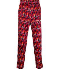 palm angels flame print contrast panel trousers - red