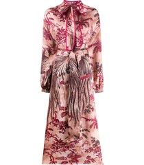 f.r.s for restless sleepers bird print dress - pink