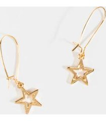 cecilia star charm oblong hoops - gold