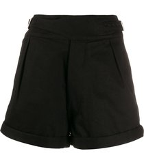 saint laurent belted high-rise shorts - black
