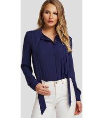 blusa de moda de manga larga con cuello en v azul marino