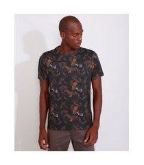 camiseta masculina estampada manga curta de folhagem gola careca multicor
