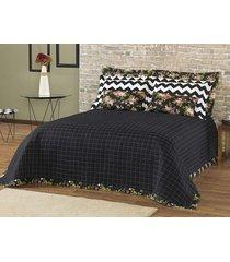cobre leito ( almofada) queen preto aruana 5 peças algodão e poliéster - ione enxovais