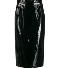 nº21 patent pencil skirt - black
