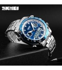 exhibición doble del reloj de la correa de acero de-azul