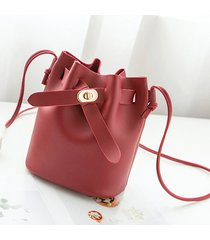spalla a secchiello per il tempo libero da donna borsa crossbody casual solido borsa