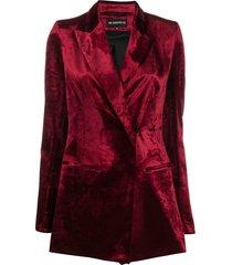 ann demeulemeester velvet longline blazer - red
