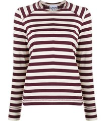 ganni organic cotton striped sweatshirt - neutrals