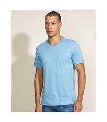 camiseta masculina básica manga curta gola v azul