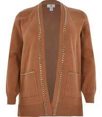 river island womens plus brown chain embellished cardigan