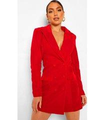 fluwelen tux blazer jurk met dubbele knopen, rood