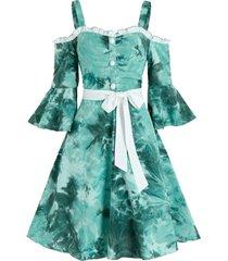 tie dye print cold shoulder belted dress