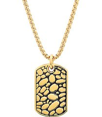 18k goldplated stainless steel cobblestone dog tag pendant necklace