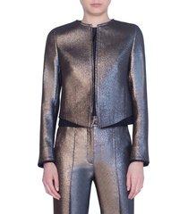 women's akris punto iridescent crop jacket, size 16 - beige