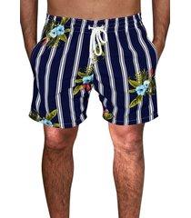 shorts praia ks estampado microfibra com elastano bolsos laterais  ref.095.1