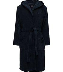 hooded bathrobe morgonrock badrock blå tommy hilfiger