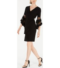 r & m richards rhinestone faux-wrap dress