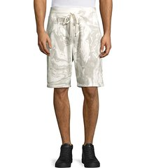 marble-dye cotton shorts